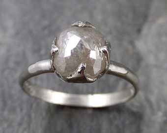 Fancy cut white Diamond Solitaire Engagement 14k White Gold Wedding Ring byAngeline 1160