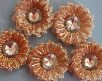 scrapbooking glossy brown organza Ribbon flower