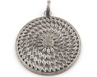 Memorial Day 1 Piece Pave Diamond Round Pendant - 925 Sterling Silver - Round Disc Pendant 54mmx48mm Pd1659