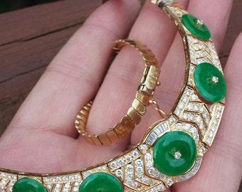 18k Gold Diamond Green Jade Necklace 47.4 Grams Price Reduced