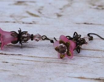 SALE - Pink Bell Flower Earrings -Vintage Inspired - Lucite Flower Earrings