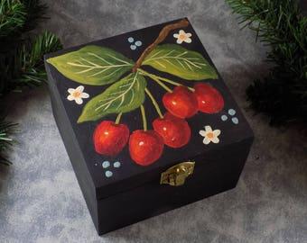 Hand Painted Cherry Design on Hand Made Box