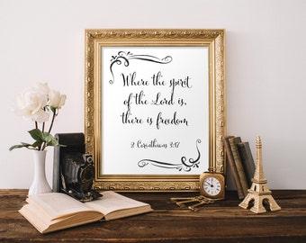Scripture art, 2 Corinthians 3:17, Freedom, Spirit of the lord, 8x10 print, Bible verse art,  Printable verses Wall decor, Art print, BD-546