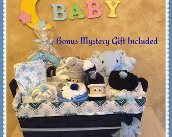 Baby gift basket etsy welcome baby gift basketbaby boy gift basketbaby boy elephant gift basket negle Images