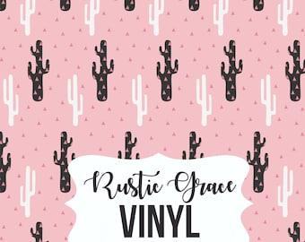 Cactus Vinyl / Cactus Heat Transfer Vinyl / Pink White Black Cactus Vinyl / Adhesive Vinyl / Oracal Vinyl