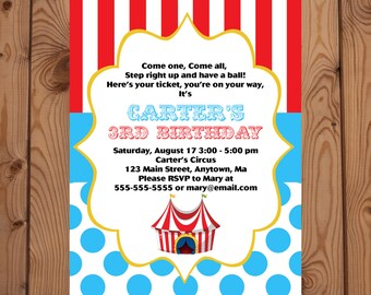 Circus Invitation - Carnival Invitations - Circus Birthday Party - Carnival Birthday Party - Circus Invites - Digital Invitation - Circus