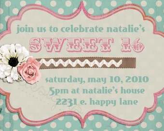 Birthday Party Invitation -- Sweet Sixteen