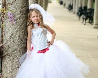 Wedding Flower Girl  Dress Silver Damask with Detachable Bustle Train All Sizes Girls