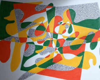 Abstract, original drawing, Le canard orange.Mineral green and scarlet lake colorway.Art by gojjell on Etsy