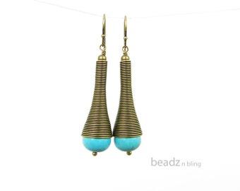 Long Turquoise Earrings Tribal Jewelry Spiral Cone Bronze African Jewelry Brass Dangle Earrings