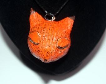 Big orange polymer clay fox necklace