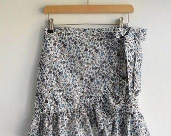 Floral Wrap Frill Skirt
