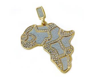 """18k Gold Plated Iced Out Africa Map Pendant Necklace with 24"""" Rope Chain"""