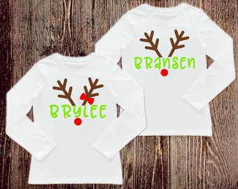 Personalized Reindeer Shirt, Personalized Shirt, Christmas Shirts, Kids Christmas shirts, Christmas party shirt, Twin Christmas Shirts