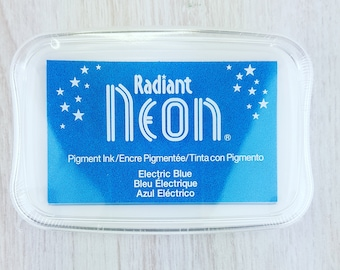 Neon Ink Pad - Radiant Neon Electric Blue Pigment Ink Pad Large - Ink for stamp - Inkpad for Rubber Stamp - Bright Blue Ink - Blue Ink