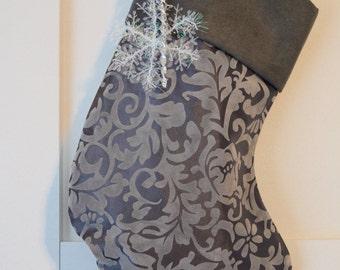 Grey Velvet Flocked Taffeta Christmas Stocking