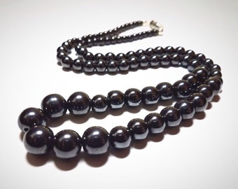 """Hematite Pearl Necklace: 21.5"""" hematite Czech glass pearl necklace. Portion of sale goes to charity."""