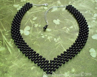 Black Right Angle Bead Weave Adjustable Necklace
