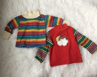 Vintage Baby Boy Girl 12 Months Rainbow Shirts Long Sleeve Lot of 2