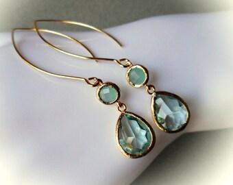 Long Erinite and Mint green earrings gold glass drop earrings gold framed glass jewels for women girl celadon wedding jewelry handmade gift