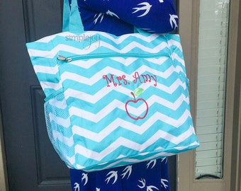 Many Colors! Teacher Bag, Teacher Gift, Teacher Tote Bag, Monogrammed Multi-Purpose Chevron Tote Bag, Teacher Apple Design, Teacher Work Bag