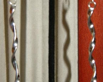 Silver Spiral Earrings, Boho Earrings, Long Earrings, Simple Earrings
