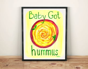 Hummus Watercolor Poster Print, Restaurant Home Deco Print Wall Art Vegan Vegetarian Gift Red Yellow Chickpea Funny Pun Bistro Cafe Design