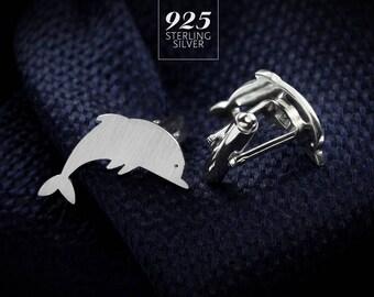Sterling Silver Cufflinks for groom – elegant Dolphin Cufflinks, keepsake suit accessories