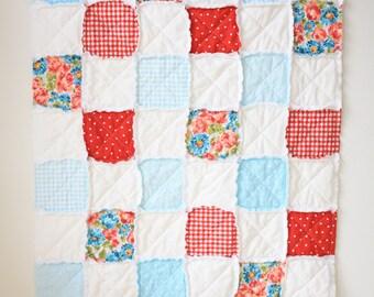 Red blue rag quilt - Floral rag quilt - Crib rag quilt - Baby rag quilt