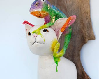 Chameleon on cat textile wall sculpture. Hand stitched fibre art taxidermy kitty. Rainbow fauxidermy. Animal art.