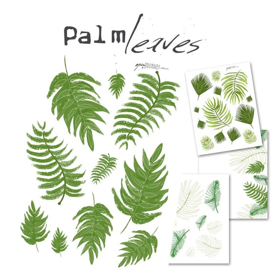 Palm leaves Illustrations - digital download for bible journaling, card making and craft