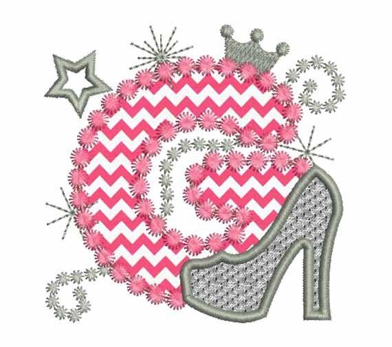 Letter G Applique Machine Embroidery Designs High Heel Shoe
