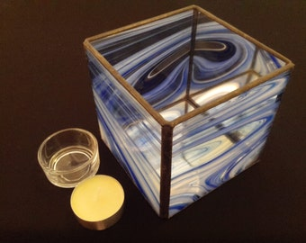 Stained Glass Tea Light Holder 10cm Cube - Votive Candle Holder - More Colours Available - Candle Holder - Glass Candle Holder