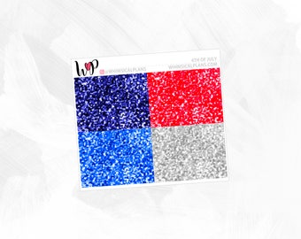 4th of July Glitter Headers - Matte or Glossy Erin Condren Planner Stickers -