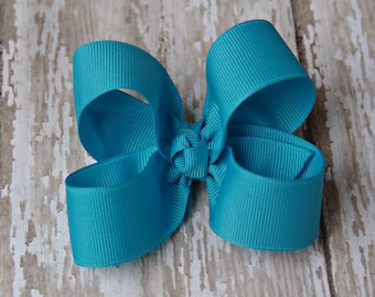 Turquoise Toddler Hair Bow 3 Inch Alligator Clip Baby Hairbow
