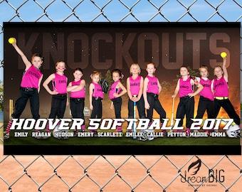Softball Baseball Team Photo Banner // Night Ball Field with Stars // Player Names // Digital PDF or JPEG