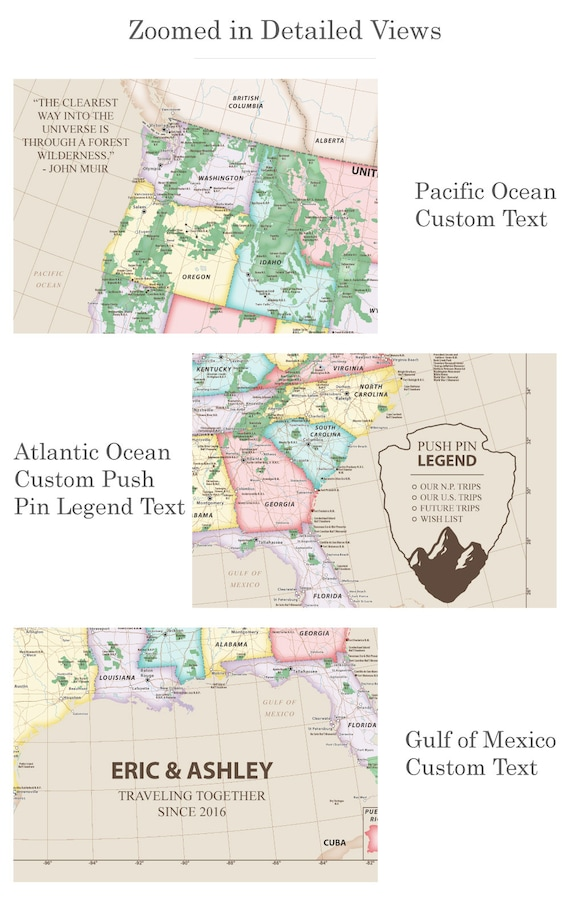 US National Parks National Parks Map Checklist United States