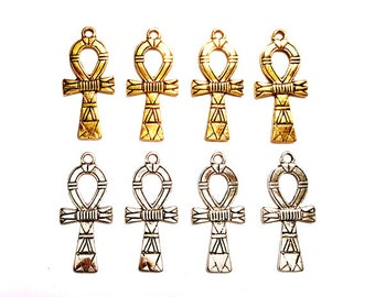 4 Antique Gold Or Antique Silver Ankh Pendant/Charms - 30-33-1