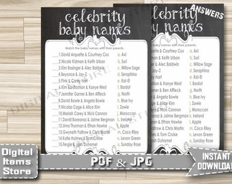 Baby Shower Celebrity Game Printable - Celebrity Baby Shower Game Chalk - Chalkboard Celebrity Baby Name Game - Instant Download - ch1