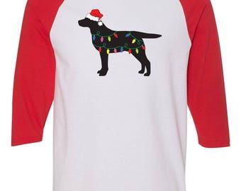 Christmas Labrador Retriever Raglan Sleeve Cotton T-shirt