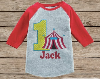 Boy's Birthday Outfit - Circus Birthday Shirt - Onepiece or Tshirt - First Birthday Outfit - Red Raglan Birthday Shirt - 1st Birthday Top