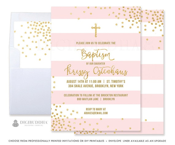 Pink and gold baptism invitation baby girl baptism invitations solutioingenieria Image collections