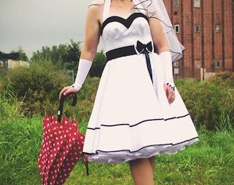 rockabilly wedding dress,petticoat dress,wedding dress,tailormade,bridalgown,crinoline,50s wedding dress
