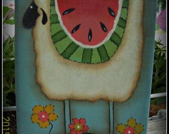 Sheep Watermelon Flowers Wood Shelf Sitter Block Primitive Home Decor