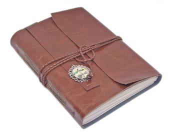 Vegan Faux Leather Journal with Lined Paper, Light Brown Diary, Dragonfly Cameo, Graduation Gift, Large Journal, Travel Planner, Vegan