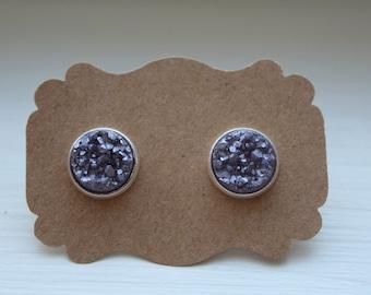 Frosted Lilac Druzy Earrings, Drusy Earrings, Purple Druzy Earrings, Silver Post, Lilac Druzy Post, Silver Purple Druzy Earring, 12mm Druzy