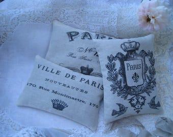 Vintage Paris Sachet Gift Bundle, Set of 3 Sachets, FREE USA SHIP, Paris, French Farmhouse, wedding, shower, gift guest favor, typography
