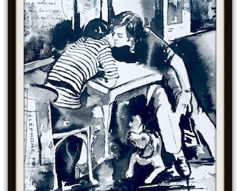 Paris Mementos Original Watercolor Painting, Romantic Home Decor, Wanderlust by Lana Moes, Travel Art, Parisian Cityscape, Gift for Both