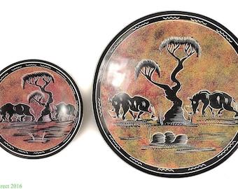 2 Stone Bowls Rhinos Kisii Kenya Africa 108184