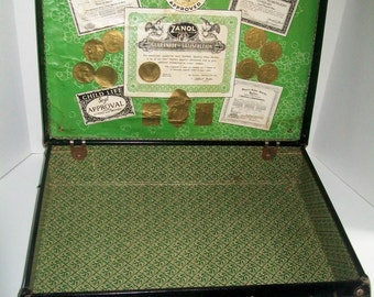 Vintage Suitcase Traveling Salesman Sample Case Advertising Collectible Photographers Prop Zanol Products 1930's